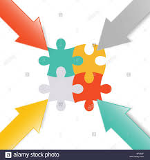 Colorful 3d Arrow Paper Point At Jigsaw Puzzle For Business Graphic