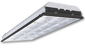 18 cell 2x4 parabolic troffer with universal 120 277v electronic ballast 2 lamps included