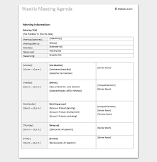 Agenda Outlines Templates Weekly Meeting Agenda Outline Template Meeting Agenda