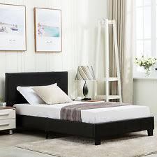 twin platform bed. Twin Size Platform Bed Frame Faux Upholstered Headboard Bedroom Furniture
