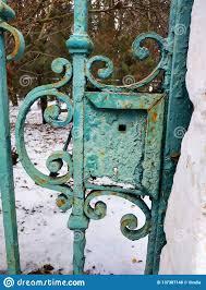 Ap Iron Design Iron Gate Of The Old Design Green Rusty Gate Stock Photo