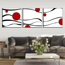 3 pcs set abstract flower painting prints on canvas minimalist black waves red dot wall art living room decor in painting calligraphy from home garden  on wall art red dot with 3 pcs set abstract flower painting prints on canvas minimalist black