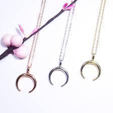 plain horn half moon necklace 925 silver rose gold