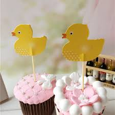 Cake Decorating Accessories Wholesale Wholesale 100 PCS Cute Yellow Duck Cupcake Topper Cake Accessories 55