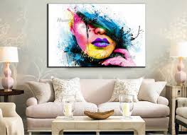 wall art for large fashion painting canvas women face picture abstract figures hand painted colorful y girl oil painting in painting calligraphy from