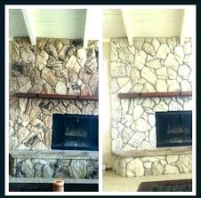 painting rock fireplaces painted stone fireplace how to paint a redo