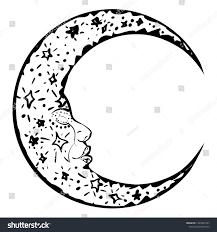 Crescent Moon Design Modern Tattoo Sleeping Crescent Moon Design Stock Vector