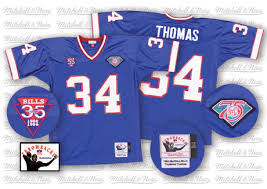 Ness 35th Blue Buffalo Authentic Jersey Bills Thurman Thomas Patch Home Mitchell Royal Throwback Men's Ness7392007 And 34 Nfl