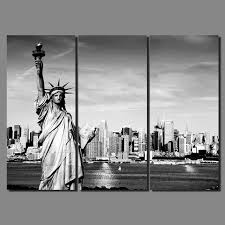 black white modern city new york statue of liberty picture decoration canvas painting wall art living