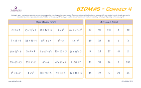 Connect 4 – BIDMAS worksheet | - JustMaths