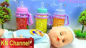 Đồ chơi trẻ em Bé Na bất ngờ bình sữa búp bê Baby doll Candy Surprise hide  and seek Childrens toys - YouTube