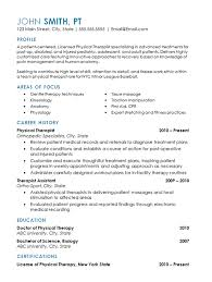 Resume For Physical Therapist
