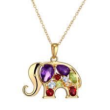 multicolor gemstone gold elephant necklace