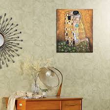 oil paintings handmade art on canvas wall decorations gustav klimt famous painting reion kiss for bedroom stretched ready to hang 12x16in