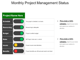Project Status Slide Monthly Project Management Status Example Of Ppt