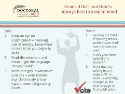 doctoral dissertation and thesis help writing dos and don ts 3 general do s and don ts