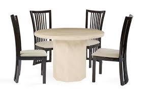 luxury round marble dining table set crema with 4 reni leather chair and for 6 singapore