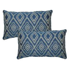 hampton bay ikat spa outdoor lumbar pillow with welt 2 pack