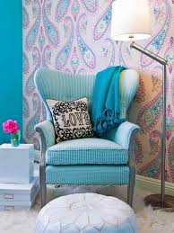 white fur rug wallpaper. bedroom blue electric chair round white ottoman vintage wallpaper design fur rug drum floor i