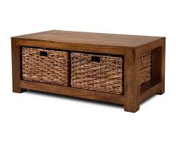 dakota mango large coffee table with baskets