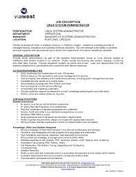System Administrator Job Description Resume Linux Administration Sample Resume Unix Systems Administrator 4