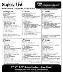 School Supplies List Template Jce 2018 19 Supply List