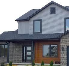House With Black Trim Mastic Deep Granite Grey Siding Black Trim Cedar Siding Accent