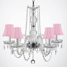 empress crystal 5 light clear crystal chandelier with pink shades