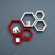 hexagon wall shelf wall shelf rack hexagon shape storage wall shelves red white hexagon hexagon wall shelf rustic white