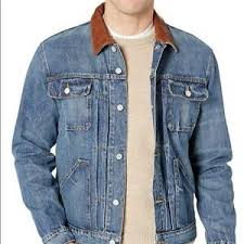 Details About Frye Denim Trucker Jacket Real Leather Collar Men S Medium New