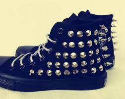 converse shoes blue and black. black punk shoes metal studded high top converse spiked sneaker custom steam blue and