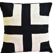 burlap pillow black burlap with cream applique decorative cush