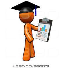 Illustration Of Orange Guy Graduate Holding A Chart On A