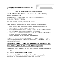 Enzyme Experiment Research Planresults And Conclusions