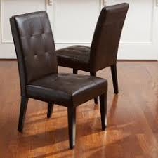 cambridge tufted brown bonded leather dining chair set of 2 by christopher knight home