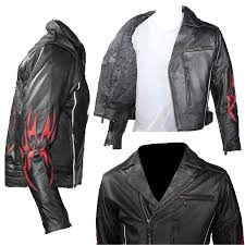 men s black traditional style motorcycle jacket with red flame inserts on the back sleeves sizes