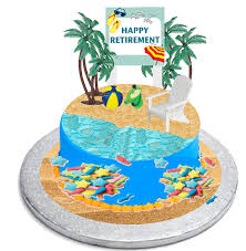 Happy Retirement Cake Topper With Adirondack Chair Beach Bucket