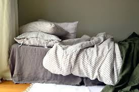 gray linen bedding bed set natural ticking stripe heavy weight duvet quilt cover bedrooms surprising rustic