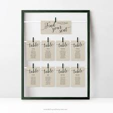 Rustic Wedding Seating Chart Cards Template Wedding Seating Cards Instant Download Seating Plan