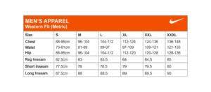Nike Size Chart Mens Rjm Sports