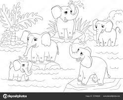 Familie Van Afrikaanse Olifanten Kleurplaten Boek Voor Kinderen