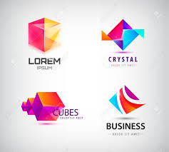 Graphic Design Shapes Vector Set Of Abstract Geometric 3d Logos Shapes Crystal Facet