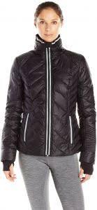 Blanc Noir Womens Puffer Jacket With Reflective Trim Black