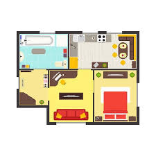 Apartment Floor Plan With Furniture Top View Colorful Floorplan Magnificent Apartments Floor Plans Design Style