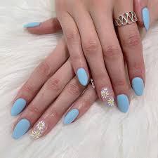 Acrylic Nail Designs Oval Matte Light Blue