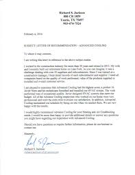 Letter Of Recommendation Advanced Cooling Advanced