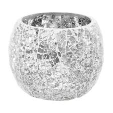 silver mirror mosaic sparkle round candleholder large hire and