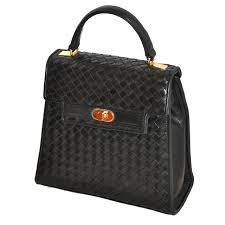 saks fifth avenue black lambskin woven leather handbag for