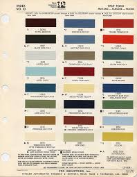 2013 Ford Color Chart 1969 Ford Mustang Color Chart With Paint Mixing Codes