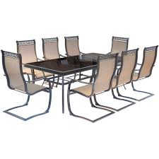 outdoor sling chairs. Hanover Monaco 9-Piece Aluminum Outdoor Dining Set With Rectangular Glass-Top Table And Sling Chairs A
